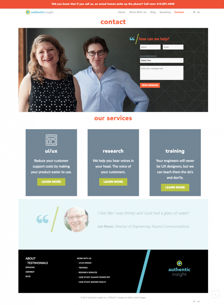Authentic Insight Contact Page
