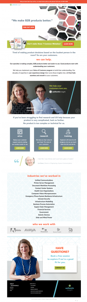 Authentic Insight Homepage Design