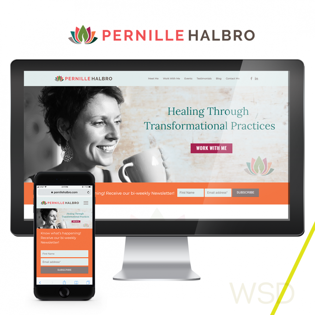 Pernille Halbro Wellness Coach Branding and Website Collage